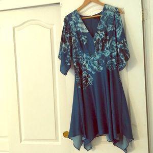 Floral, teal, silk like cold shoulder dress
